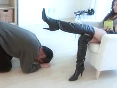 Japanese femdom- Sexy girl training slave with boots