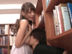 Cute Japanese Girl with big tits so horny and fucked hard in library