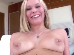Amateur blonde with pierced nipples fucks