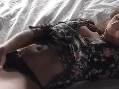 Ebony girl's odd way to achieve orgasm