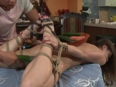 Ashley gets stripped and tied up for food fetish session