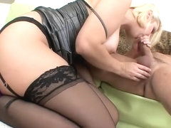 Mandy Sweet in garter and stockings