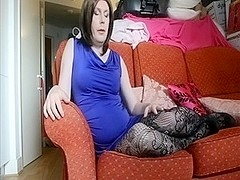Emma lee sexy shemale in stockings jerk off instruction