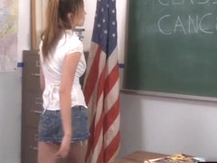 Lesbo Aiden Aspen bent over and fingered by busty schoolgirl