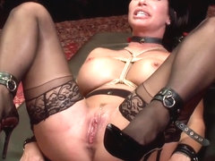 Two busty slaves nailed during BDSM party