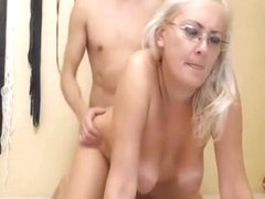 Nerdy Babe Gets Her Both Holes Pounded