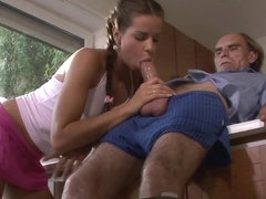 Young pigtailed girl sucks and rides old man's big cock