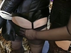 Cross-dresser used by Dominatrix