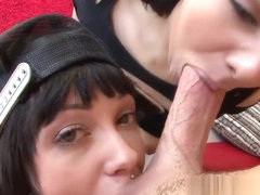 Aria Rae and Sparky share Mike Adriano's monster cock