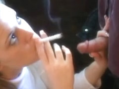 Sensual Young Blonde Babe Knows How To Smoke And Suck A Dic