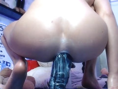 BLONDE TEEN DOES ANAL WITH HUGE DRAGON DILDO