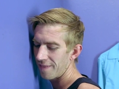 A.J. fucks a huge dick in the changing room while BF waits