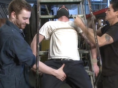 Straight stud with a giant cock relentlessly edged against his will