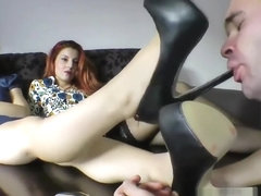 High heel clean and foot worship