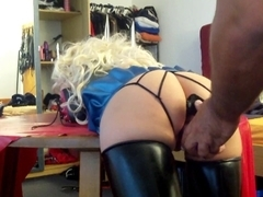 Spandex catsuit sex video with bdsm and masturbation