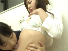 Beautiful japanese kissing tummy