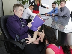 Brick & Ryan Smiles in Office fling - MonsterCurves