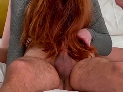 Ginger Redhead Hairjob Massage Jerk Off till Huge Cumshot in Long Red Hair