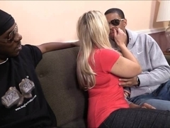 Busty blonde whore Angel Allwood group sex with black guys
