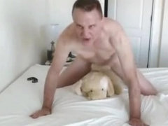 Kevin Yardley fucks a toy dog and cums hard