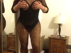 Deanna CD doll strips down to black bodystocking