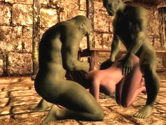 Alyssa Whoreborn fucked by 2 orcs from Skyrim prison (channel trailer