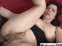 Mature With Natural Tits Gets A Creampie In Her Hairy Pussy - MatureNDirty