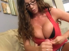 Handjob from amazing aunt mom son with gloves and tits