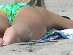 Blonde Teen Girl's Feet and Ass on the Beach.