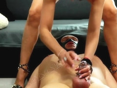 Cruel Wife Lock Husband Dick In Chastity Cage And Piss To His Mouth!