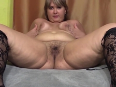 beautiful plump hairy by a pussy, shows her body, domination