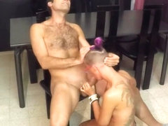 Reverse cowgirl and doggy on a chair and a load of cum for her pussy