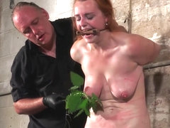 Tit whipping and stinging nettle bdsm of redhead amateur