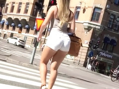 Candid Thick Milf Ass and Thighs in Tight White Shorts Walking