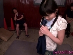 Squirting asian teens toy domination by group