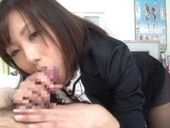 Kanari Tsubaki awesome Asian teacher gives a blowjob