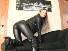lady in leather teasing