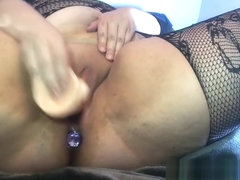 BBW Cums Wearing Lace Body Stocking