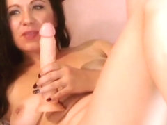 watch this hot brunette fucking her holes(5)