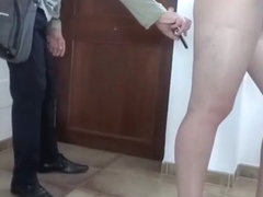 Show the delivery boy your upskirt