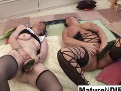 Brunette Matures Get Each Other Off With Vegetables - MatureNDirty