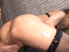 Maria Ozawa and friend are covered in lube before riding a cock