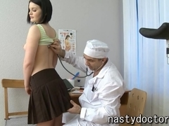 Old gynecologist does pussy exam