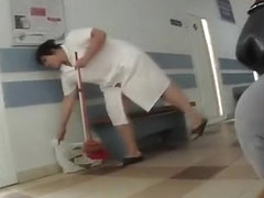 Chubby mature cleaning lady upskirt