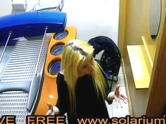 Blonde Horny hot Teen masturbates in public solarium