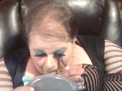 BBW Sissy putting on makeup