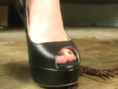 Jenny Craw Crush Black OT Slingbacks Red Soles.
