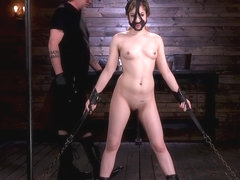 In brutal domination babe suffering