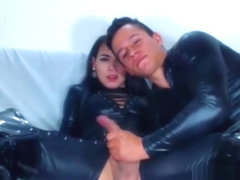 Latex leather shemale blowjob