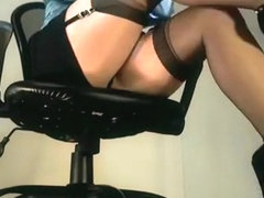 Sexy office babe teases in under the desk footage